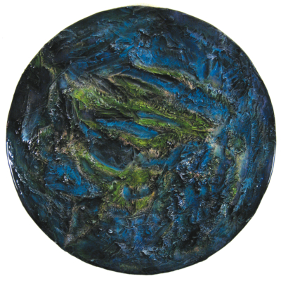 "Earth 2 - Michael Rousseau 24"" diameter - mixed media with epoxy resin."